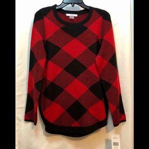 Alia Black and Red Plaid Sweater